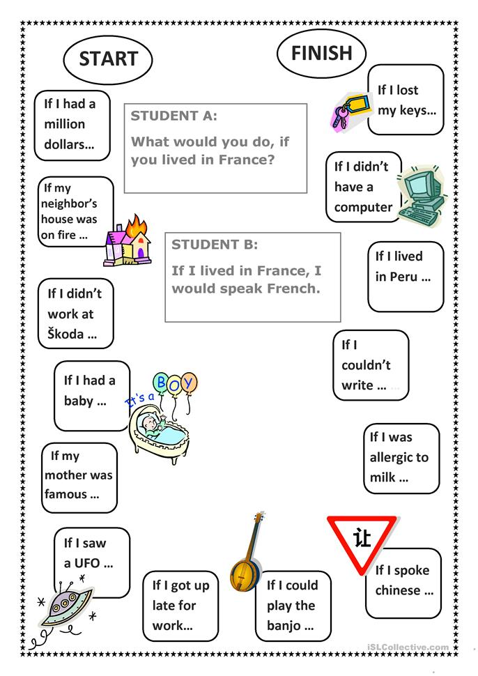 2nd conditional Board game - ESL worksheets