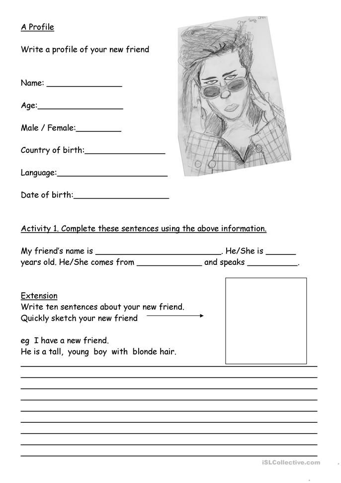 A Profile of a new friend. - ESL worksheets