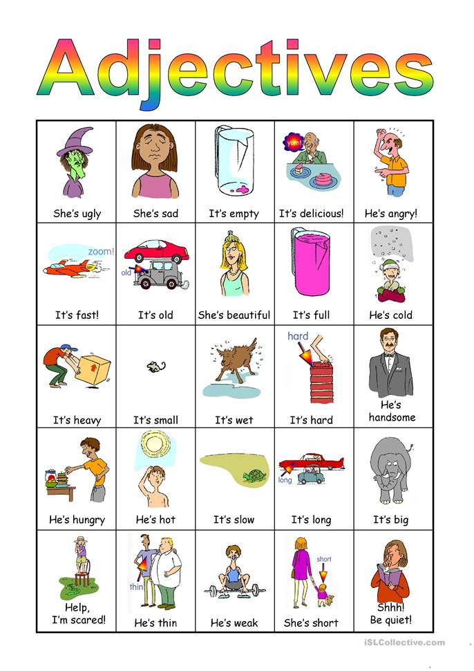 Adjectives Bingo set worksheet - Free ESL projectable worksheets made by teachers