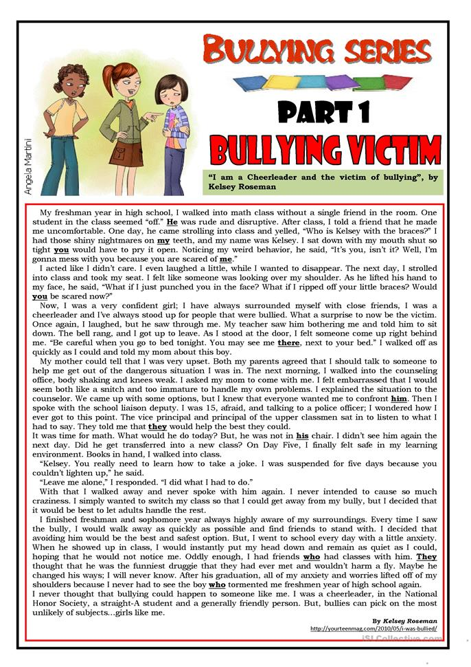 Worksheets Bullying Worksheet 36 free esl bullying worksheets series part 1 victim
