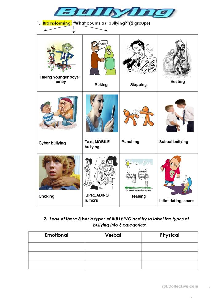 Printables Bullying Worksheets 38 free esl bullying worksheets types