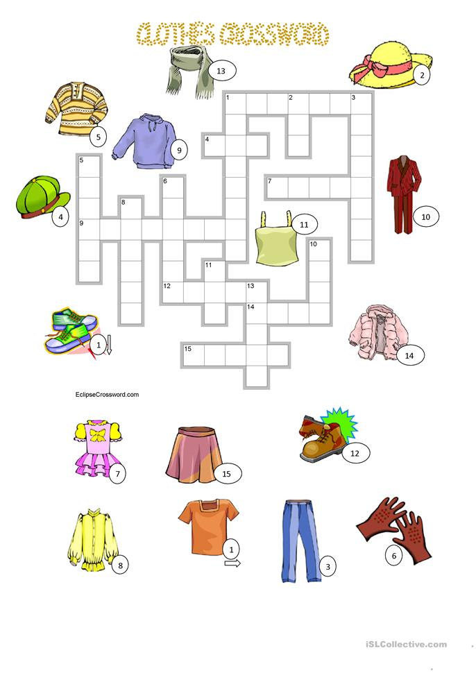 CLOTHES crossword + KEY - ESL worksheets
