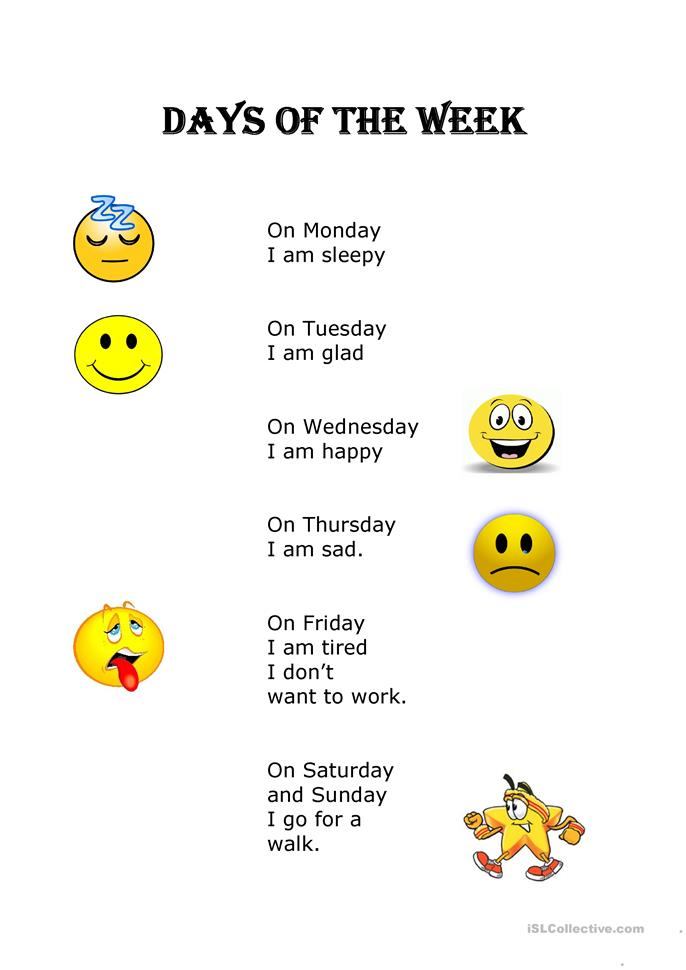 days of the week - ESL worksheets