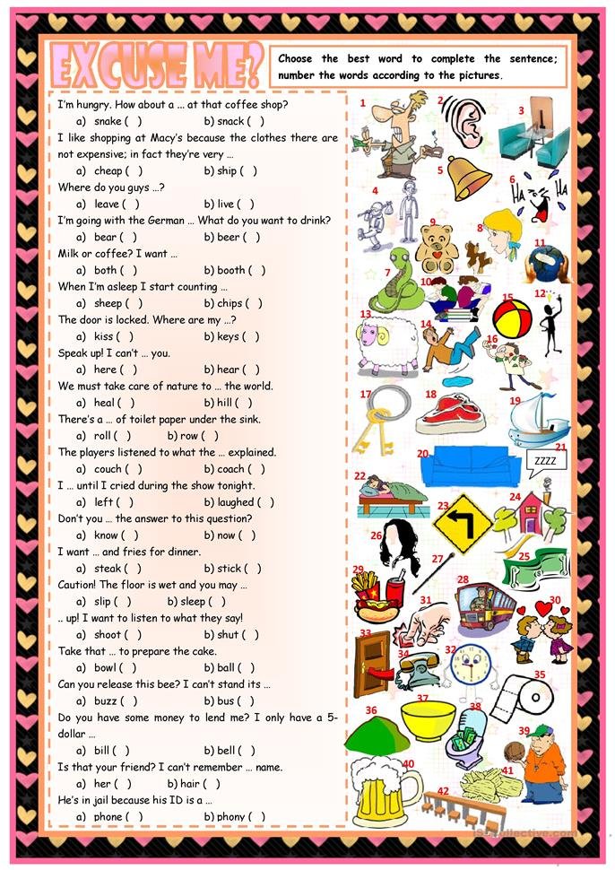 Excuse me? – phonetic ws • confusable words • 2 tasks • B&W version... - ESL worksheets