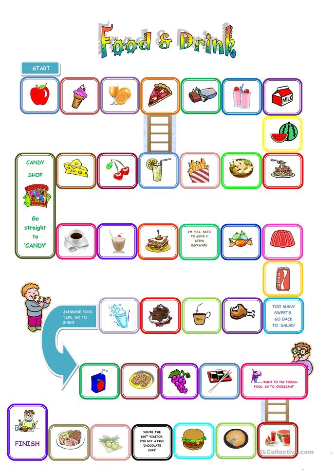 Food and Drink Board Game - ESL worksheets