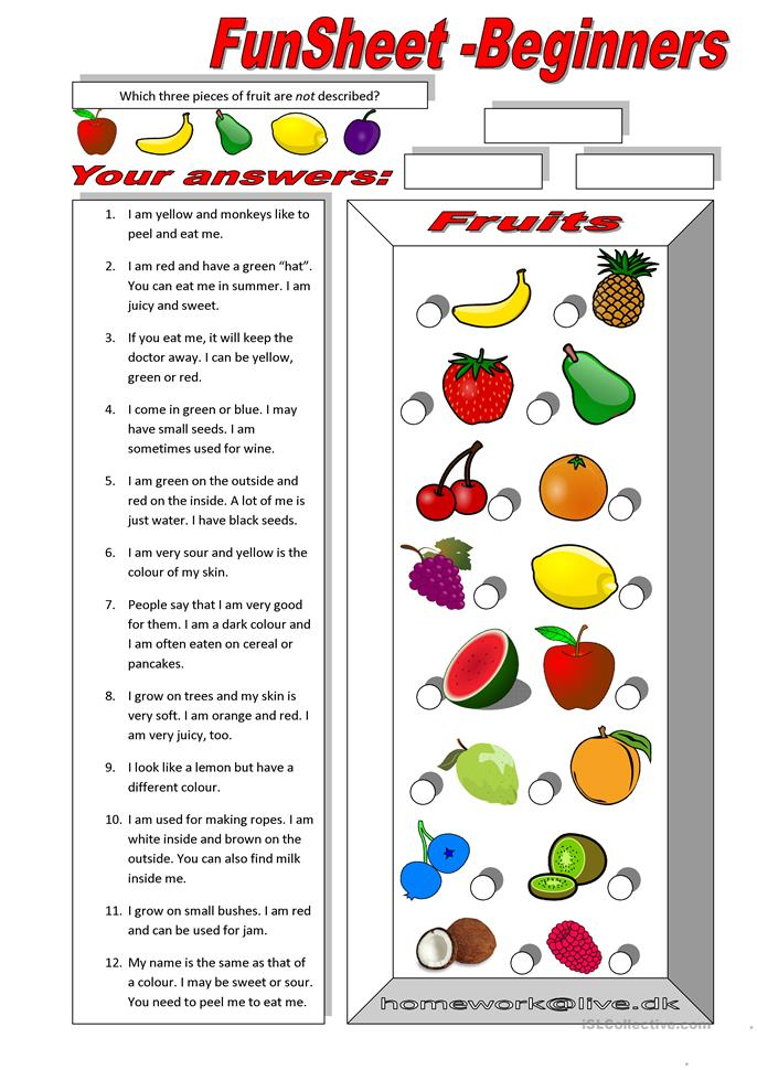 FunSheet for Beginners: Fruit - ESL worksheets