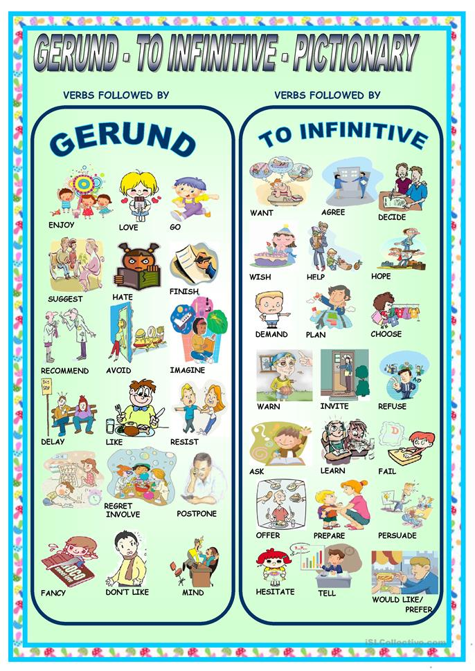 GERUND - TO INFINITIVE - PICTIONARY - ESL worksheets
