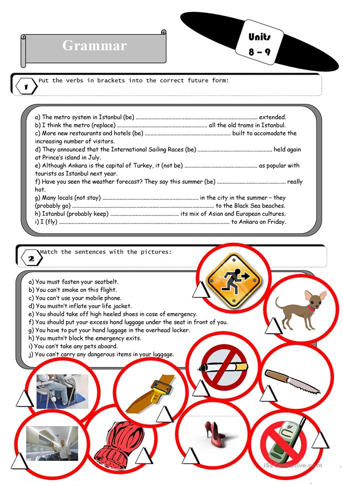 Grammar and vocabulary exercises for students of tourism ... - ESL worksheets