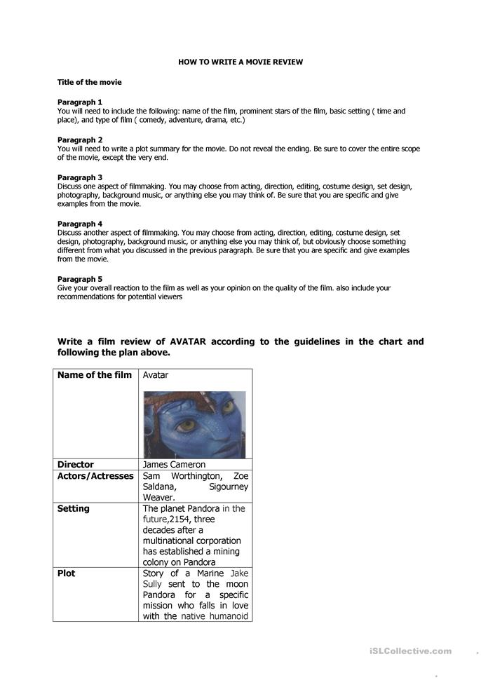 GUIDELINES TO WRITE A MOVIE REVIEW - ESL worksheets