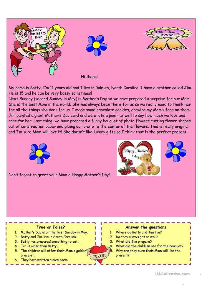 Happy Mother's Day - ESL worksheets