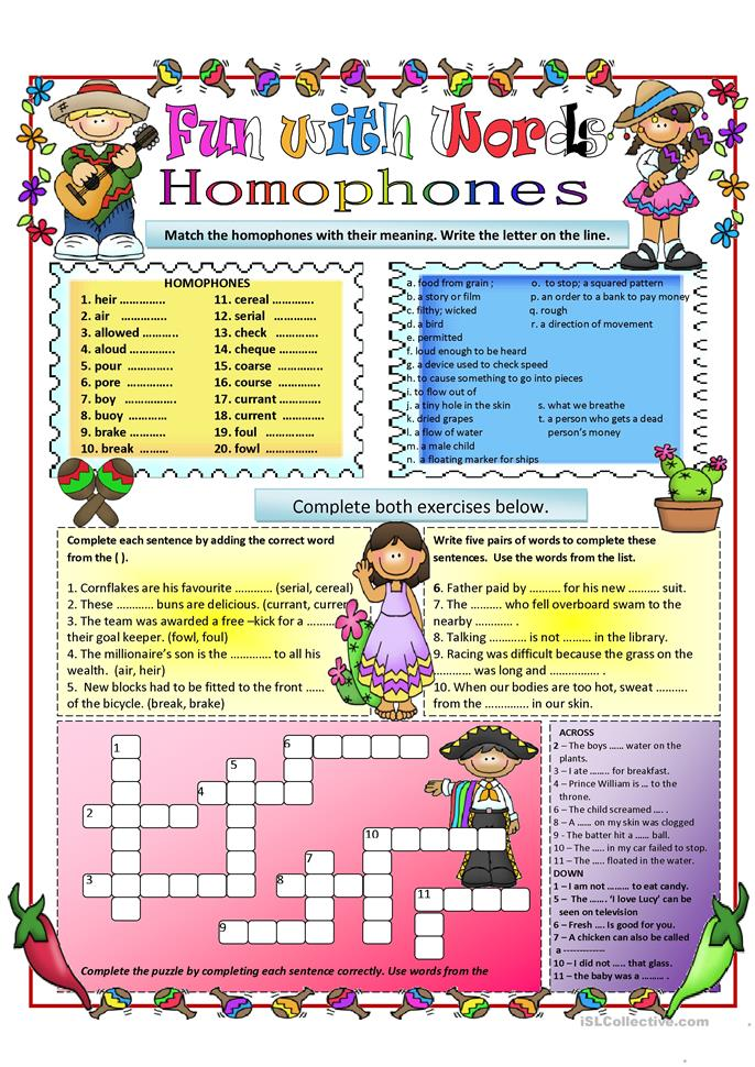 Homophones  - ESL worksheets