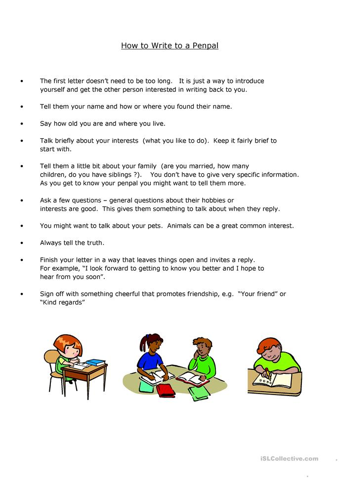 How to Write a Penpal ... - ESL worksheets