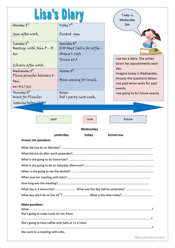 Lisa's Diary - ESL worksheets