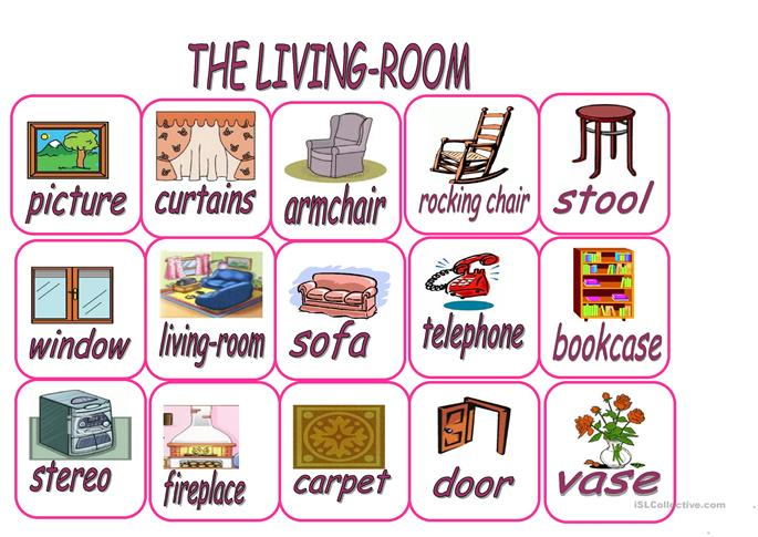 things in the living room vocabulary living flashcards worksheet free esl printable 25613