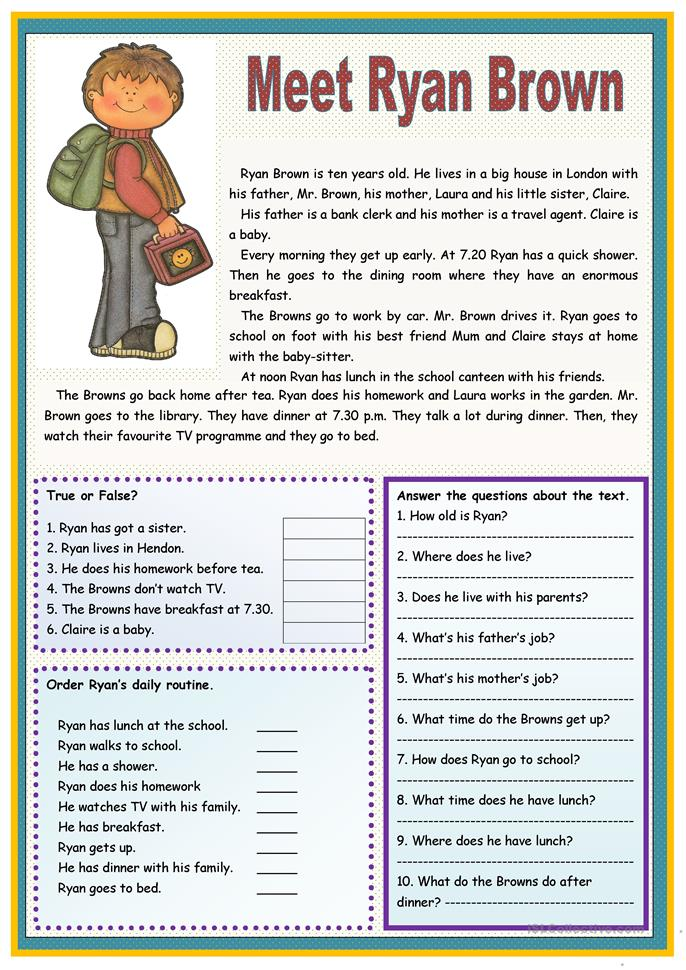 Printables Reading Comprehension Worksheets For Highschool Students Free 5811 free esl reading comprehension exercises worksheets meet ryan brown