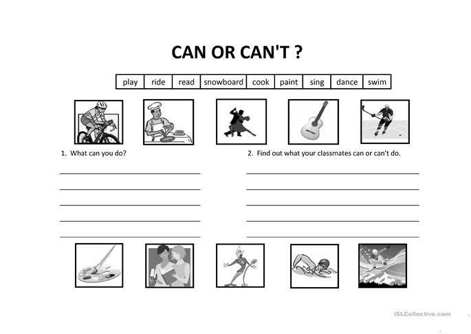 Modal Verb Can and Can't worksheet - Free ESL printable worksheets ...