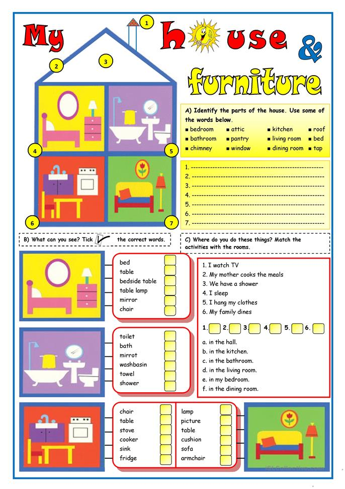 107 free esl rooms in the house worksheets for Dining room vocabulary esl