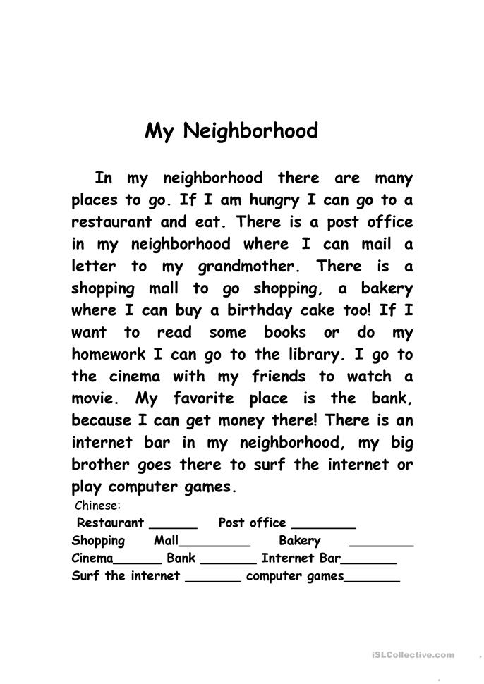 my neighborhood worksheet free esl printable worksheets made by teachers. Black Bedroom Furniture Sets. Home Design Ideas
