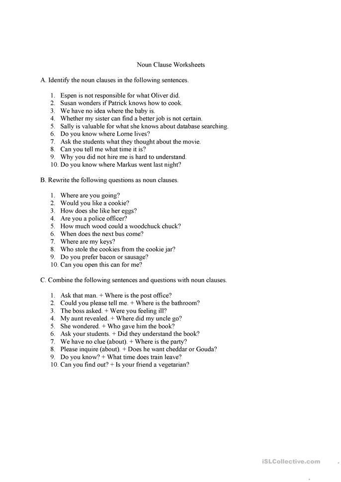 Noun+Clause+Worksheet Noun clauses questions and answers worksheet ...