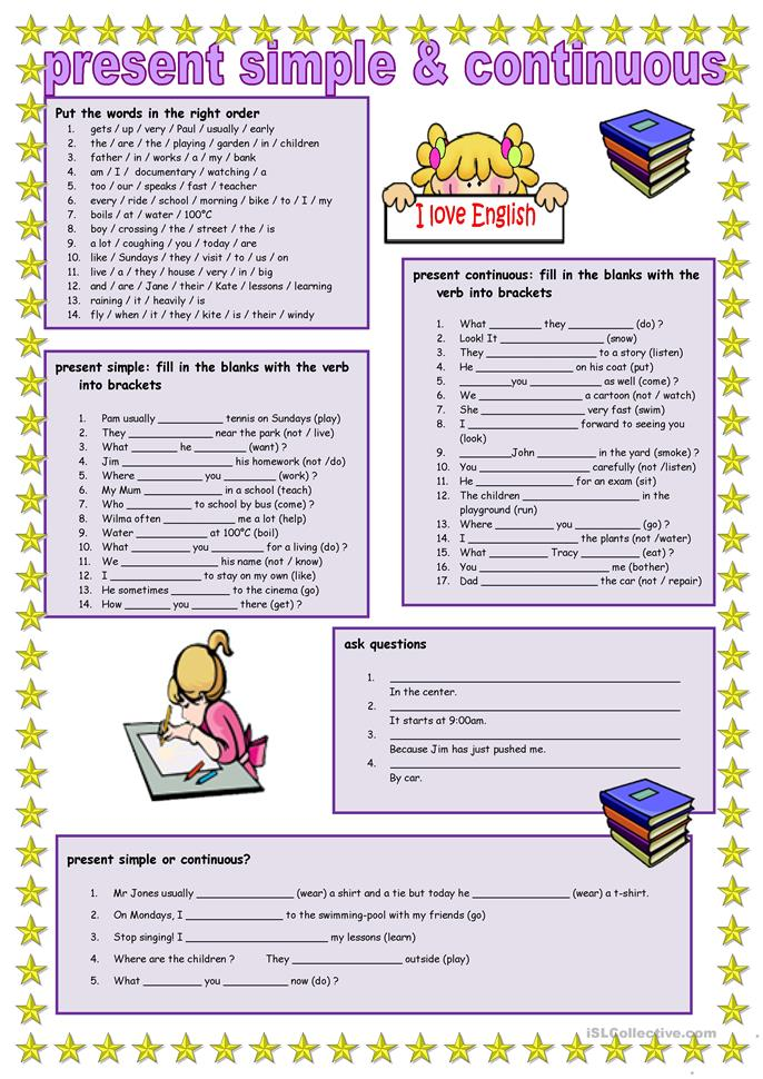 Present simple and con... - ESL worksheets