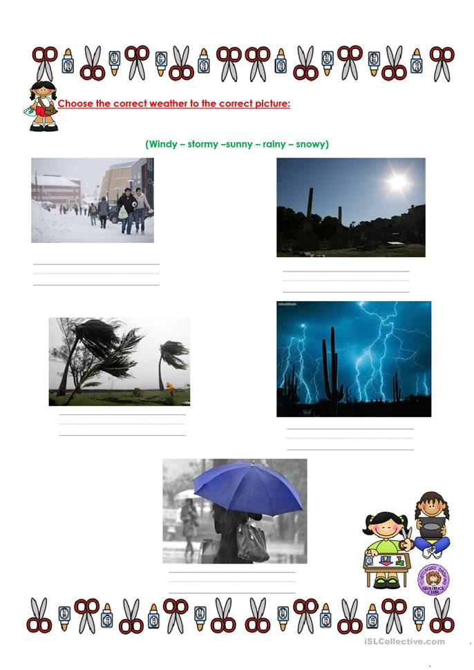 Quiz about weather - ESL worksheets