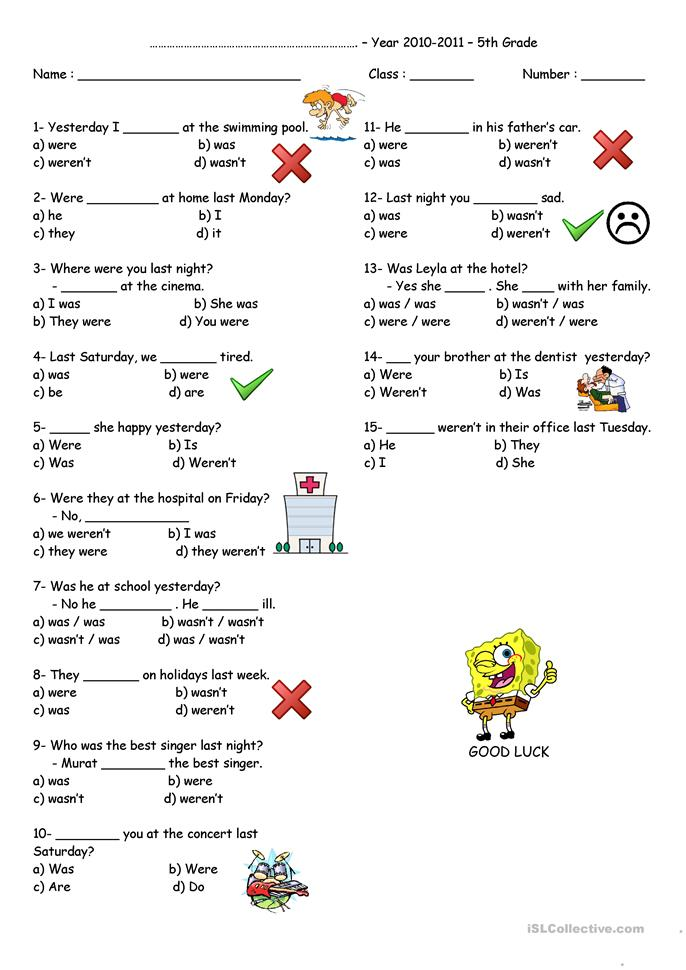 Quiz - Was or Were - ESL worksheets