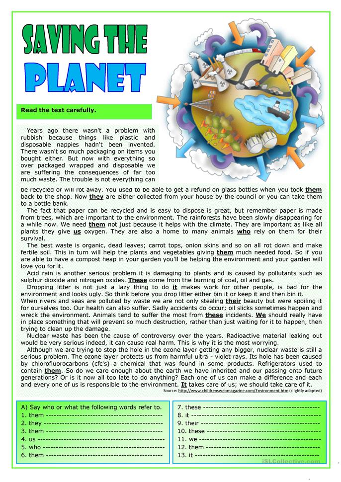 Saving the planet - ESL powerpoints
