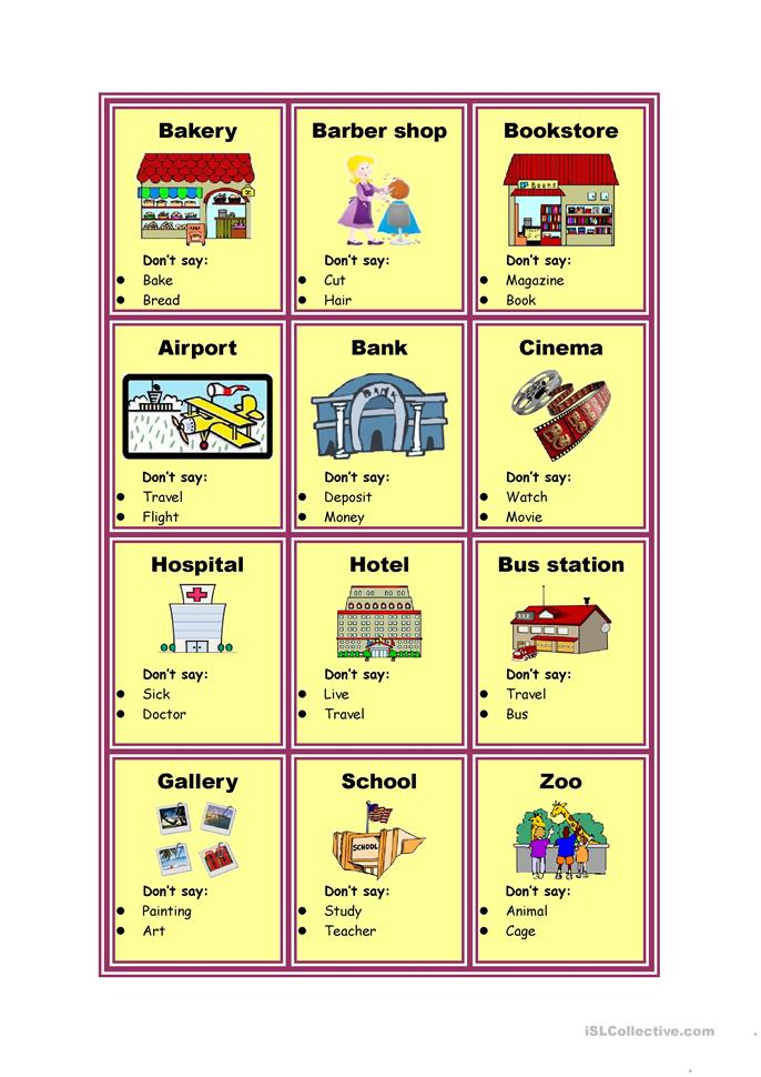 Taboo cards - Places in city - ESL worksheets