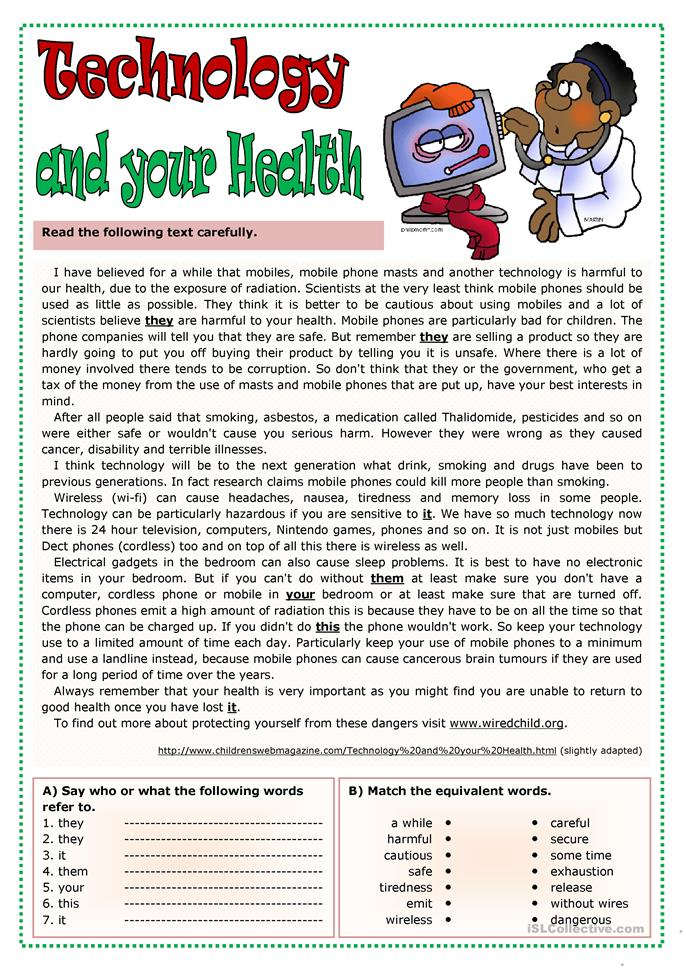 Technology and your health - ESL worksheets