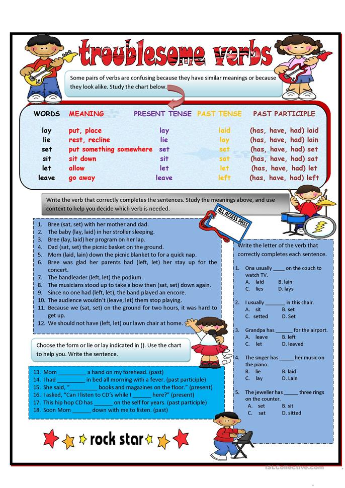 Troublesome Verbs PART 1: lay, lie, set, let, leave worksheet ...