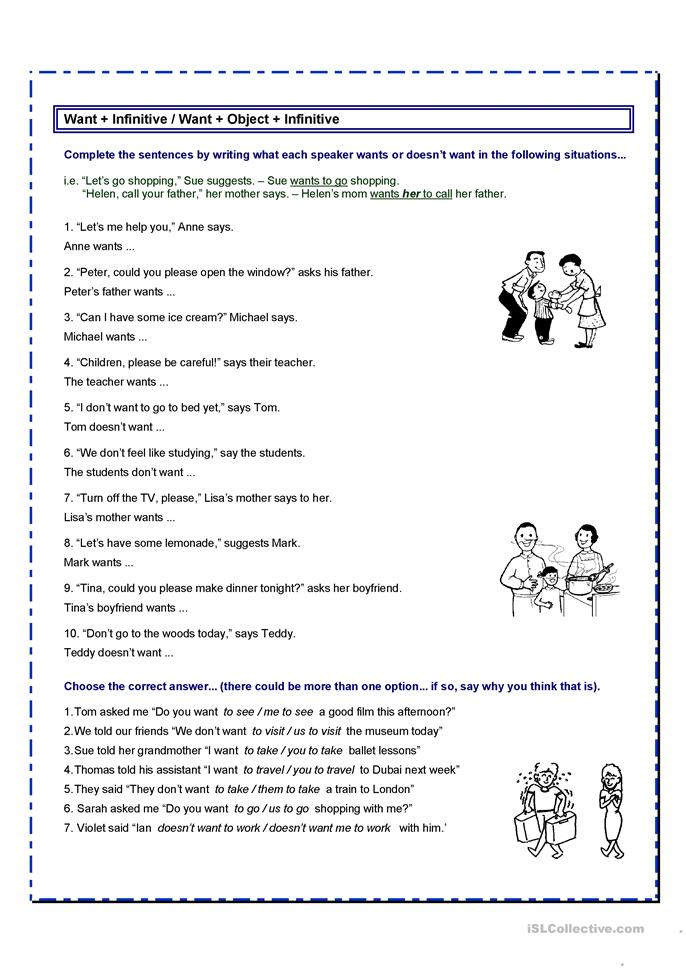 Want to / Want + obj. + infinitive - ESL worksheets