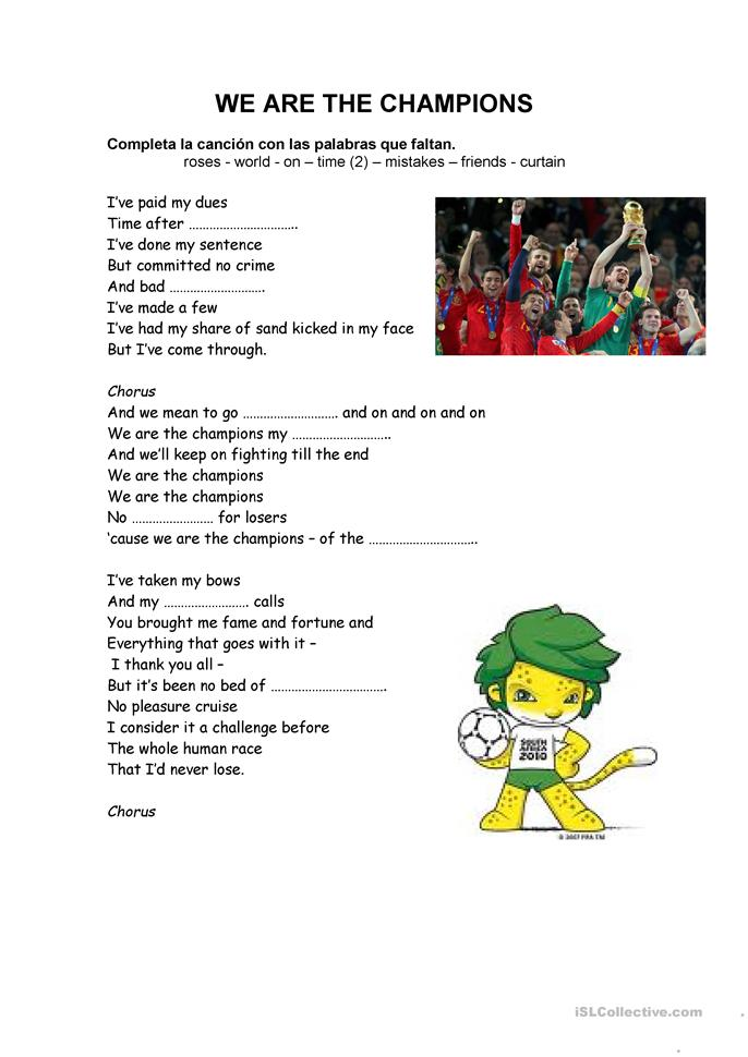 WE ARE THE CHAMPIONS - ESL worksheets