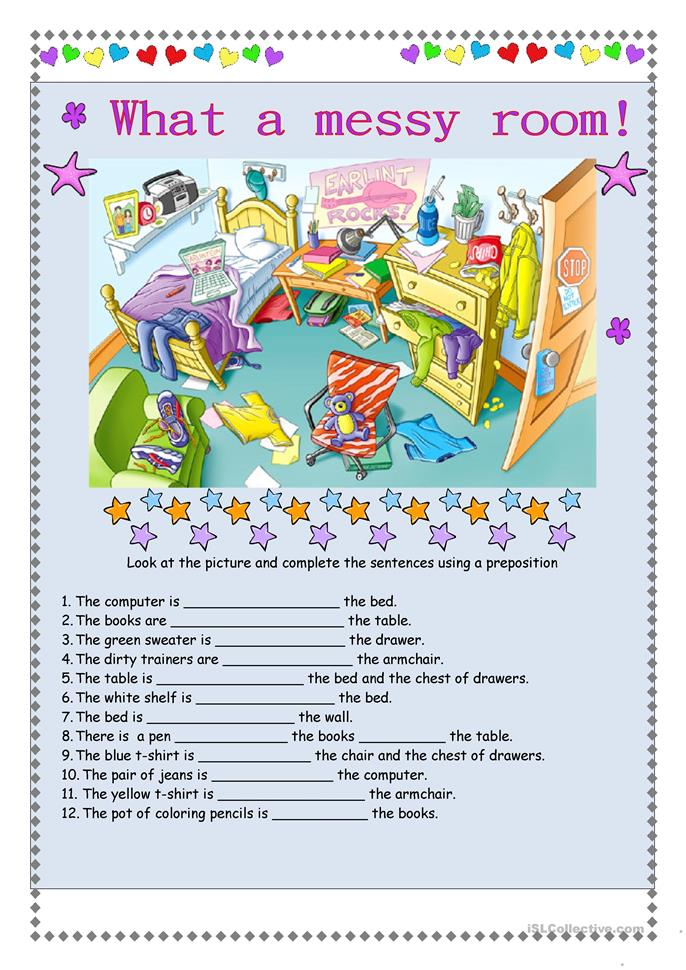 What a messy room - ESL worksheets