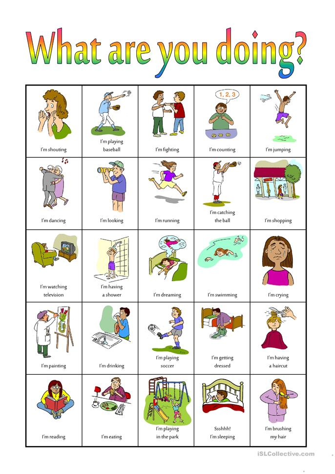 What are you doing? Bingo - ESL worksheets