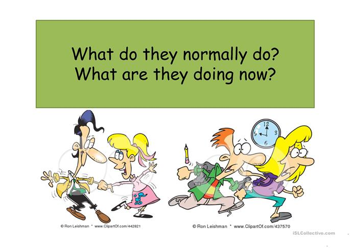 What do they do every day? What are they doing now? - ESL worksheets
