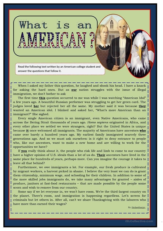 What is an American? - ESL worksheets