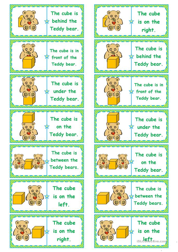 Where's the cube? preposition dominoes, memory cards, gap-filling, ... - ESL worksheets