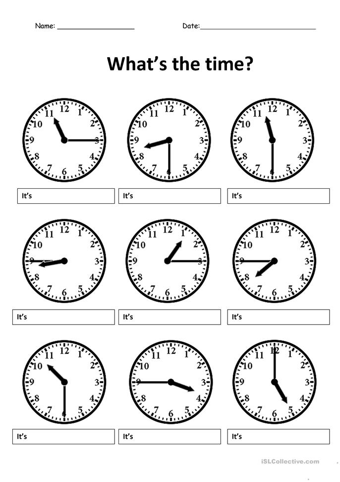 Write the correct time - ESL worksheets
