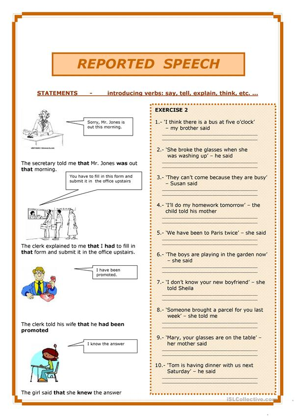 worksheet for reported speech pdf