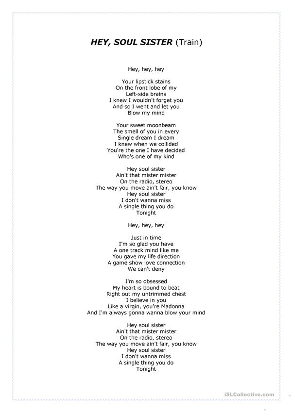 Song: Hey, Soul Sister ( by Train) - English ESL Worksheets