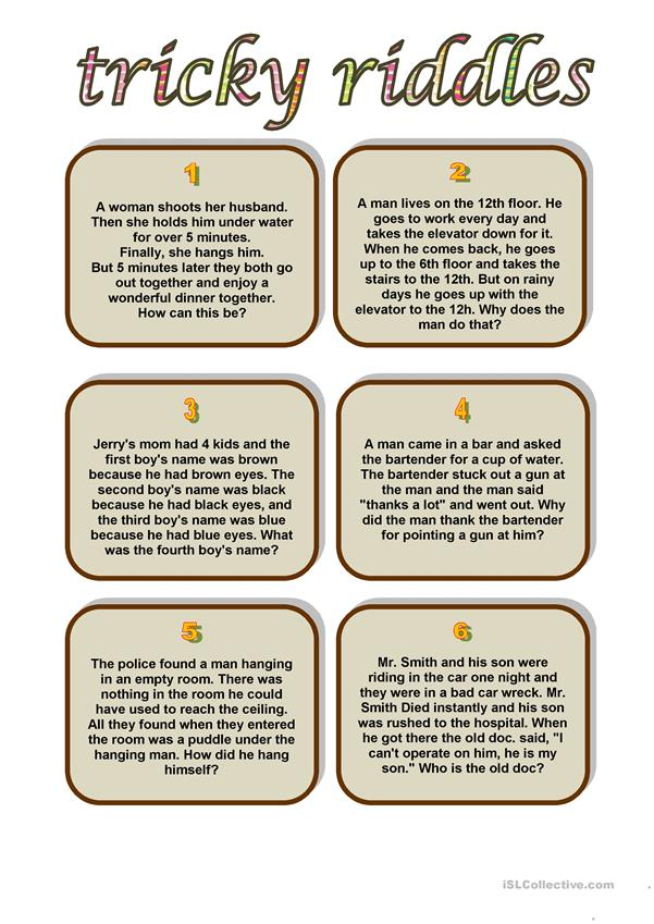tricky riddles worksheet free esl printable worksheets made by teachers. Black Bedroom Furniture Sets. Home Design Ideas