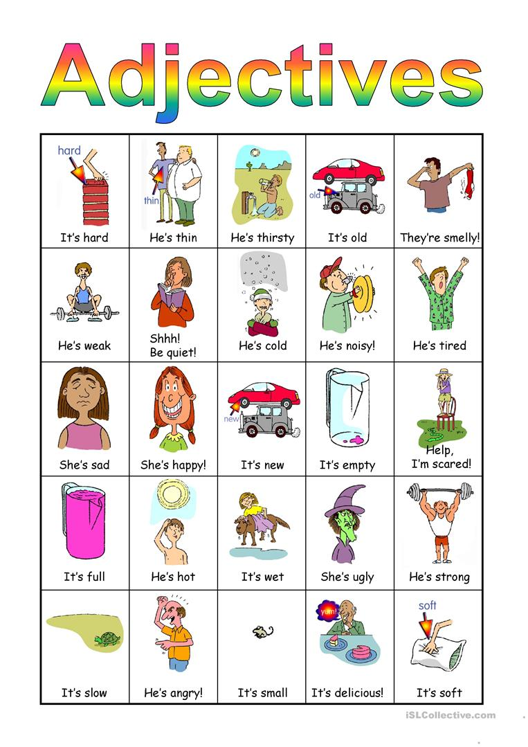 Adjectives Bingo set worksheet - Free ESL projectable ...