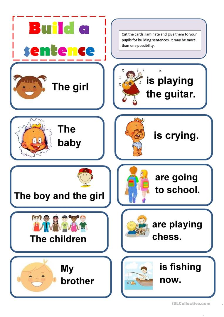 picture about Sentence Building Games Printable named Create a sentence recreation - English ESL Worksheets