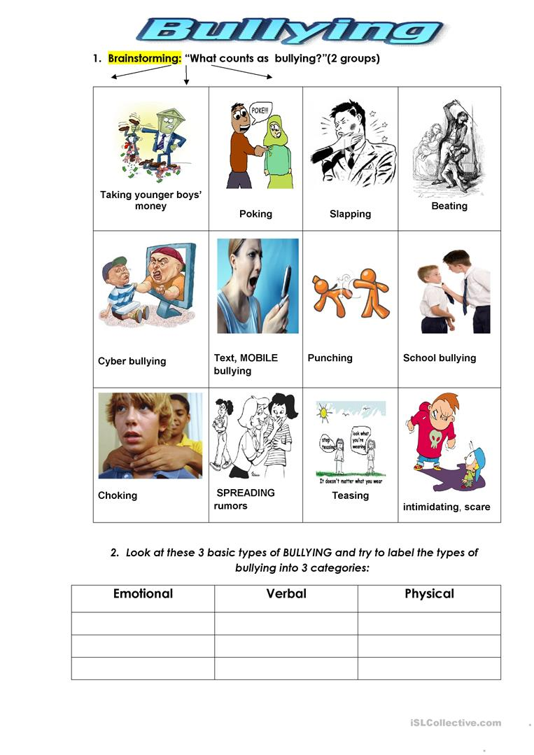 Worksheets Bullying Worksheet 38 free esl bullying worksheets types