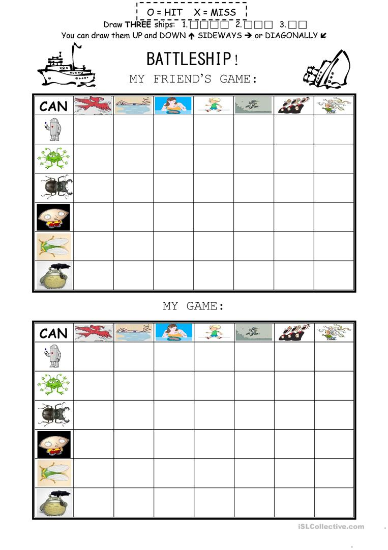 graphic relating to Printable Battleship Game known as Can Battleship Video game - English ESL Worksheets
