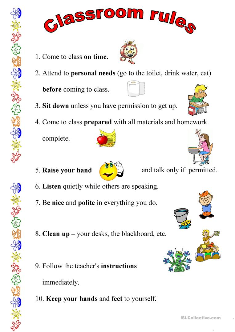 Worksheets Classroom Rules Worksheet 34 free esl classroom rules worksheets rules