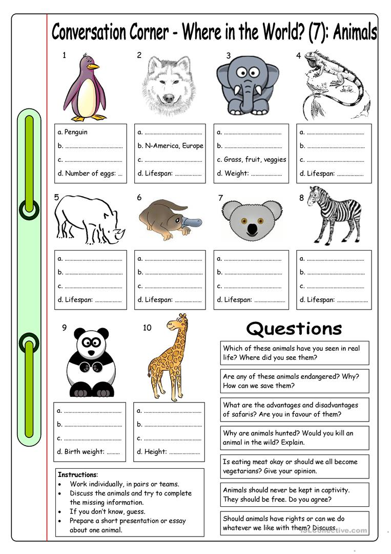conversation corner where in the world 7 animals worksheet free esl printable worksheets. Black Bedroom Furniture Sets. Home Design Ideas