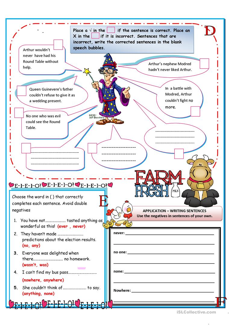 Double Negatives worksheet Free ESL printable worksheets made by