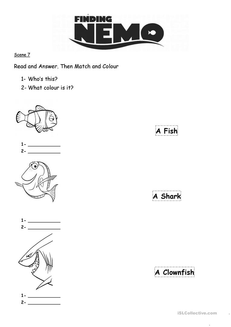 Worksheets Finding Nemo Worksheet 5 free esl finding nemo worksheets nemo
