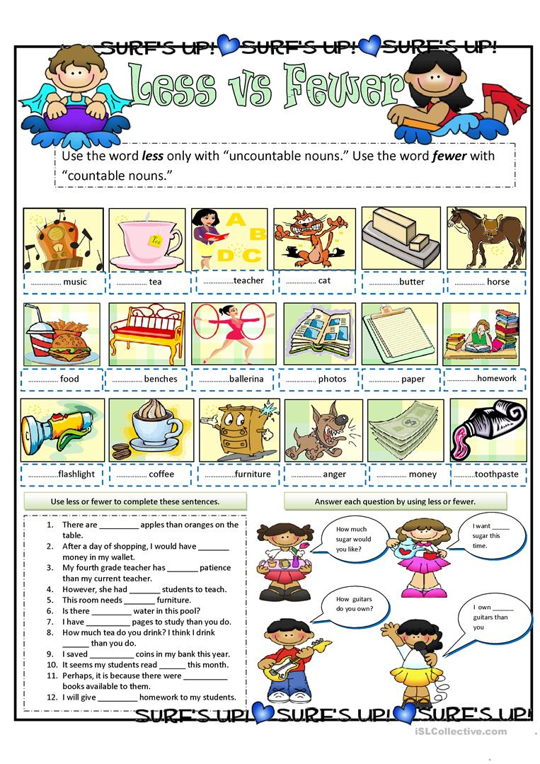 Hola Dificil Por ley  Less vs Fewer - English ESL Worksheets for distance learning and physical  classrooms
